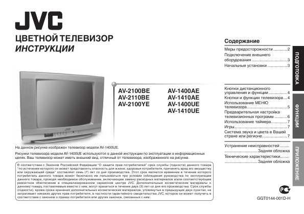 инструкция телевизор jvc av -