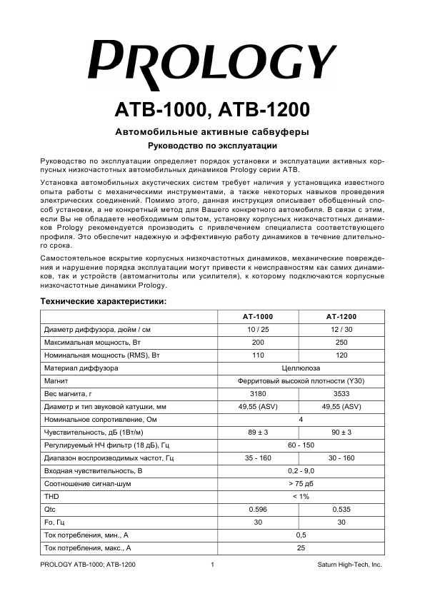 Инструкция Prology ATB-1200