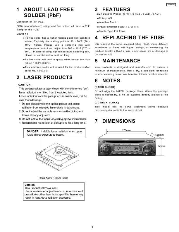 panasonic cq-c1301w инструкция