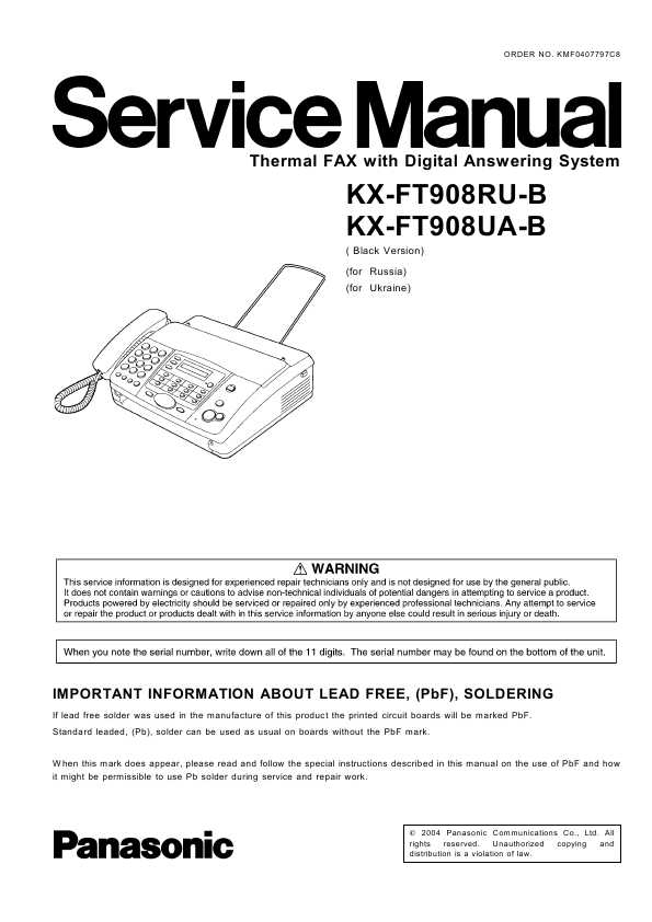 Инструкция к факсу panasonic кх ft908