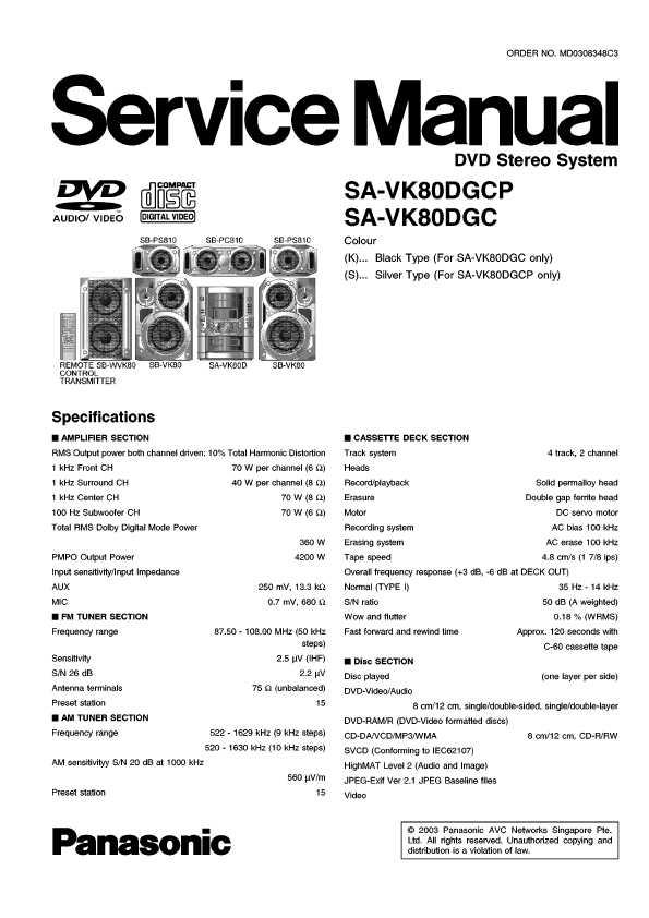 Panasonic sa-vk80d инструкция
