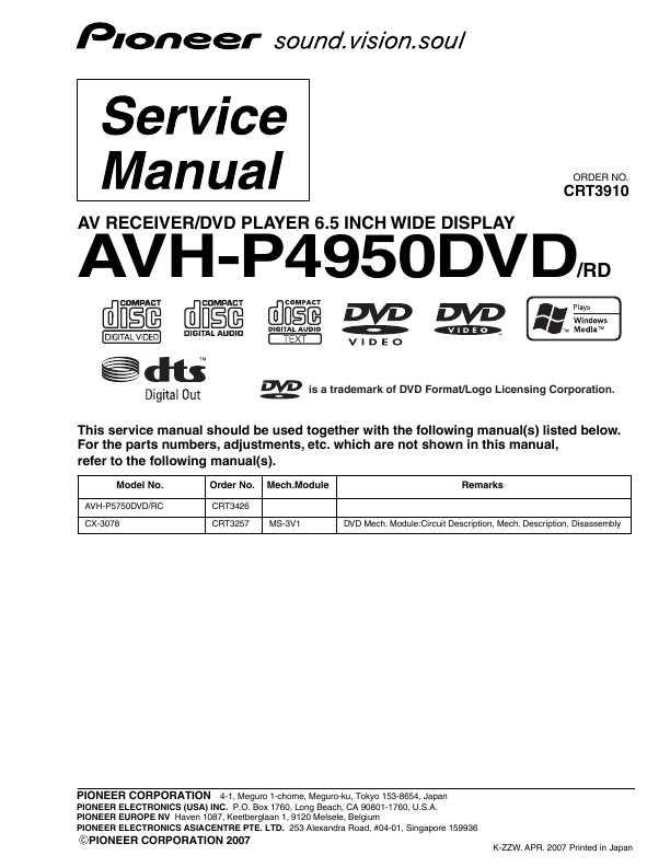 инструкция avh p 5850 dvd
