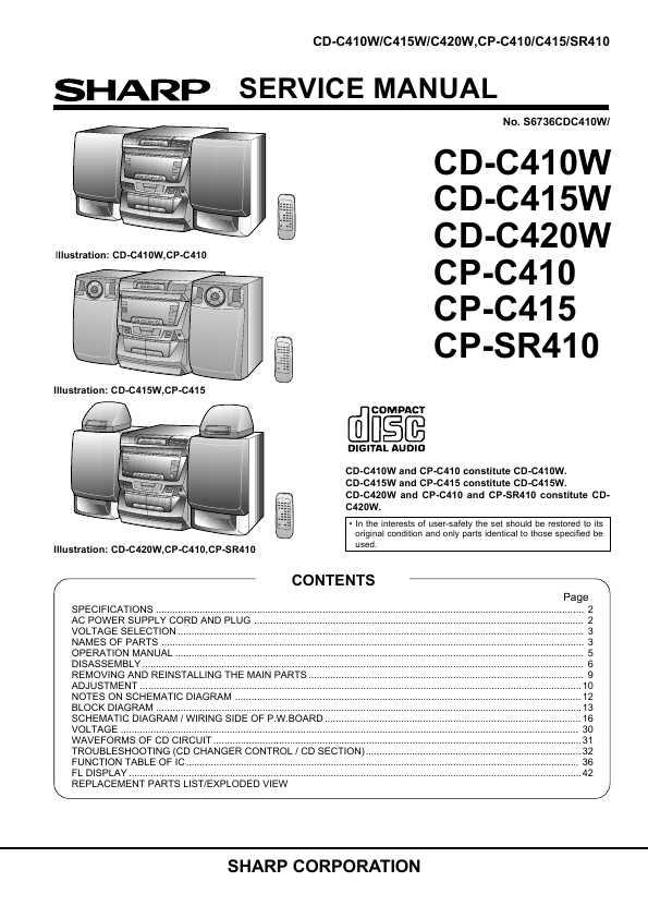 Sharp cd-c410w инструкция на русском