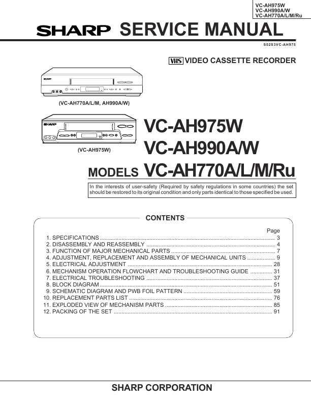 Sharp vc ma48 инструкция