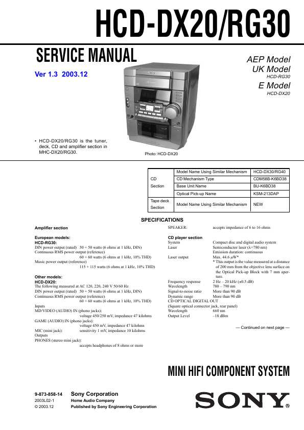 Sony Hcd Rg30 инструкция - фото 3